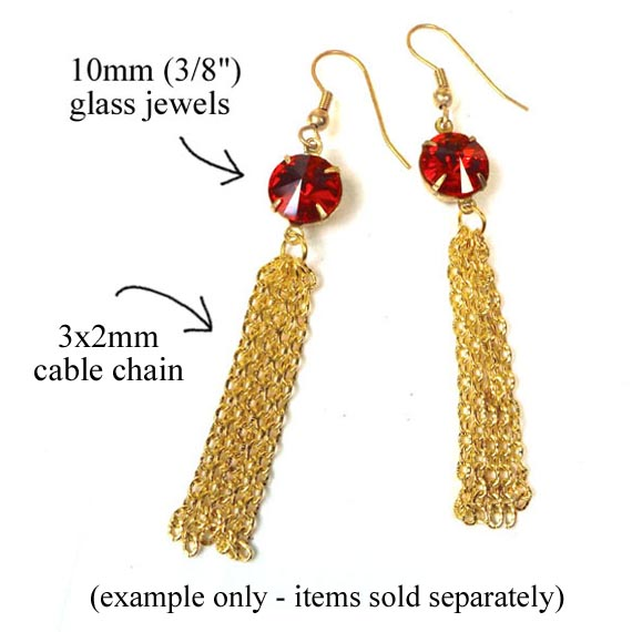 DIY earring design featuring round glass jewels and gold plated chain