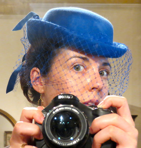 Royal blue vintage hat with fascinator veil