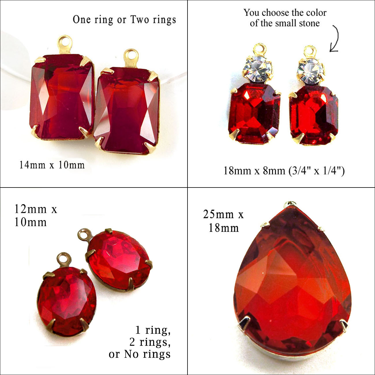 ruby red glass gems available at weekendjewelry1 on etsy