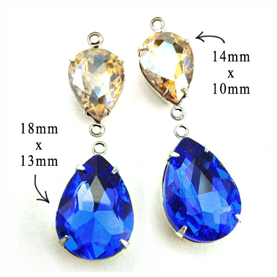 sapphire blue and light colorado topaz framed glass pear or teardrop beads