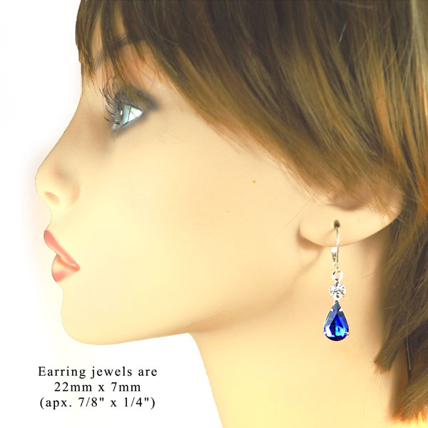 sapphire blue and sparkling crystal earrings with a multi stone setting
