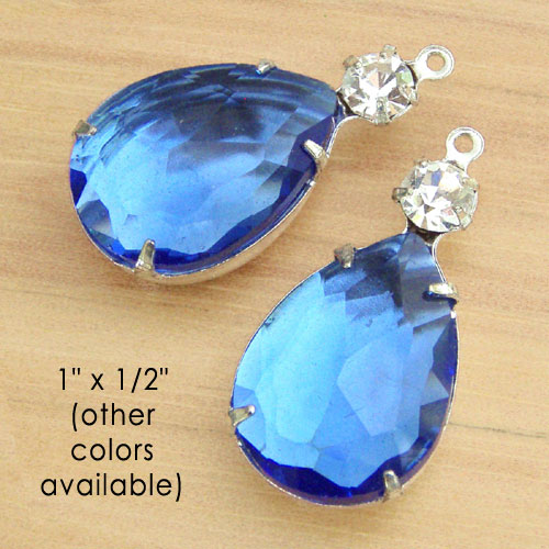 sapphire blue and crystal glass teardrop jewels available at Weekendjewelry1 at Etsy