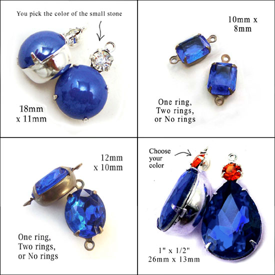 sapphire blue glass cabochons and rhinestone jewels in my shop