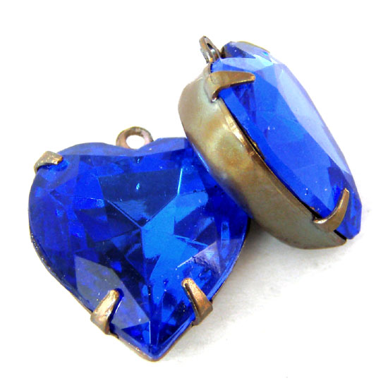 Sapphire Heart Vintage Glass Beads or Jewels in my Etsy shop