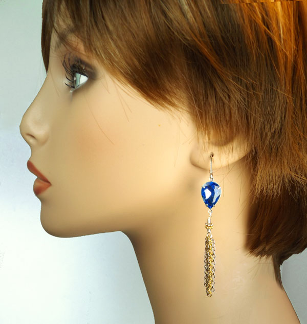 sapphire blue teardrops and multi color chains in a new DIY earring design