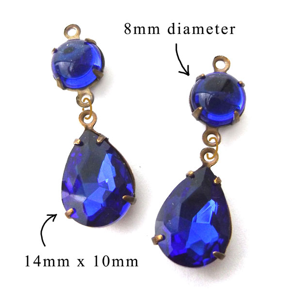 sapphire blue glass teardrops paired with small round gems for DIY earrings