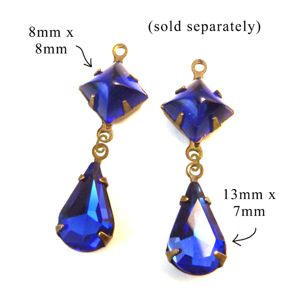 sapphire blue glass gems for earrings, glass connectors, pendants, and of course the September birthstone