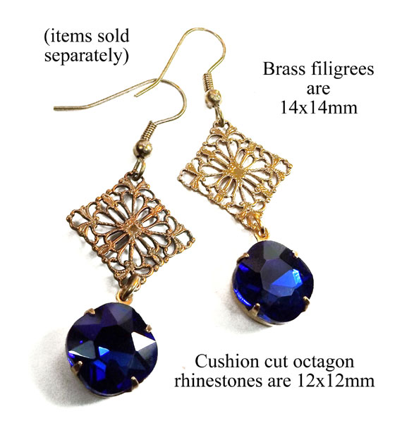 DIY earring design idea featuring sapphire blue cushion cut rhinestones paired with brass filigree ornaments