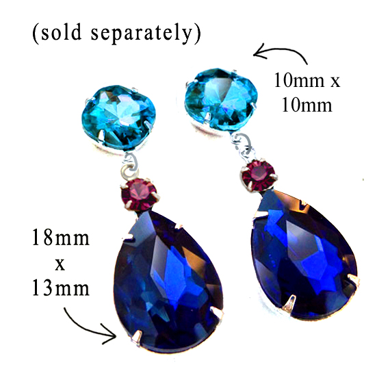 DIY earring design idea featuring sapphire rhinestone teardrops paired with amethyst and aqua glass jewels