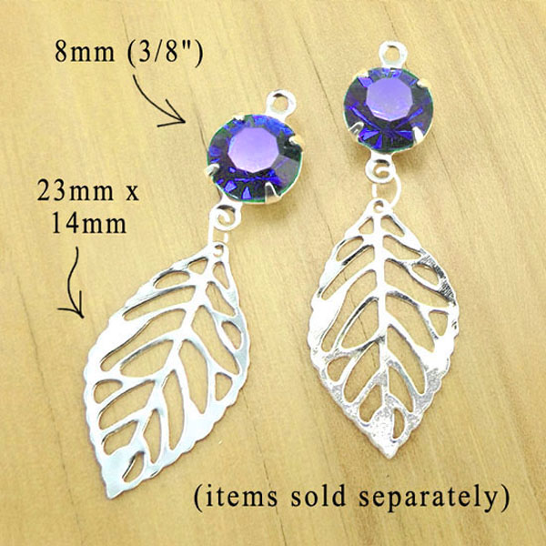 bridesmaid  earrings featuring silver plated leaf charms and sapphire glass gems