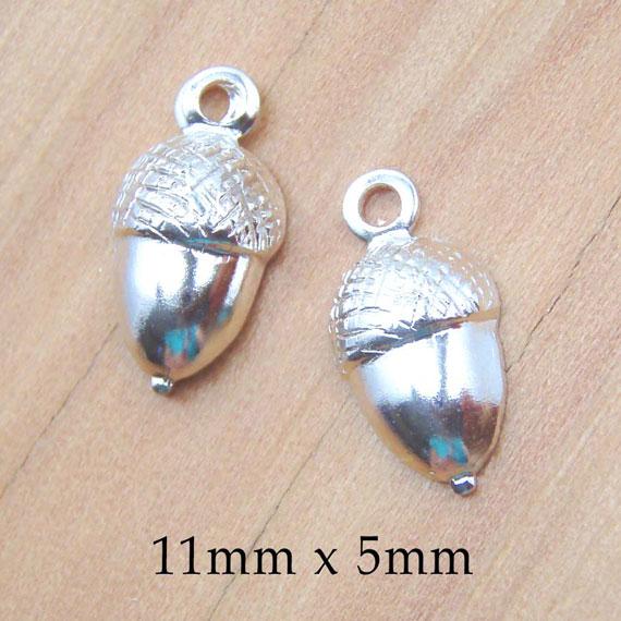 silver acorn charms pair