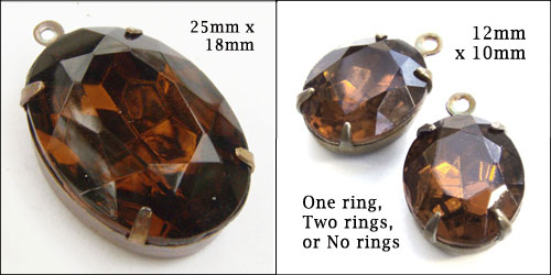 smoky topaz vintage glass jewels in  my Etsy shop