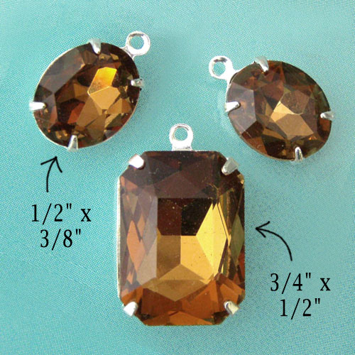 smoky topaz glass jewels set in my jewelry supplies online shop