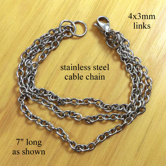stainless steel chain bracelet with lobster clasp - custom sized
