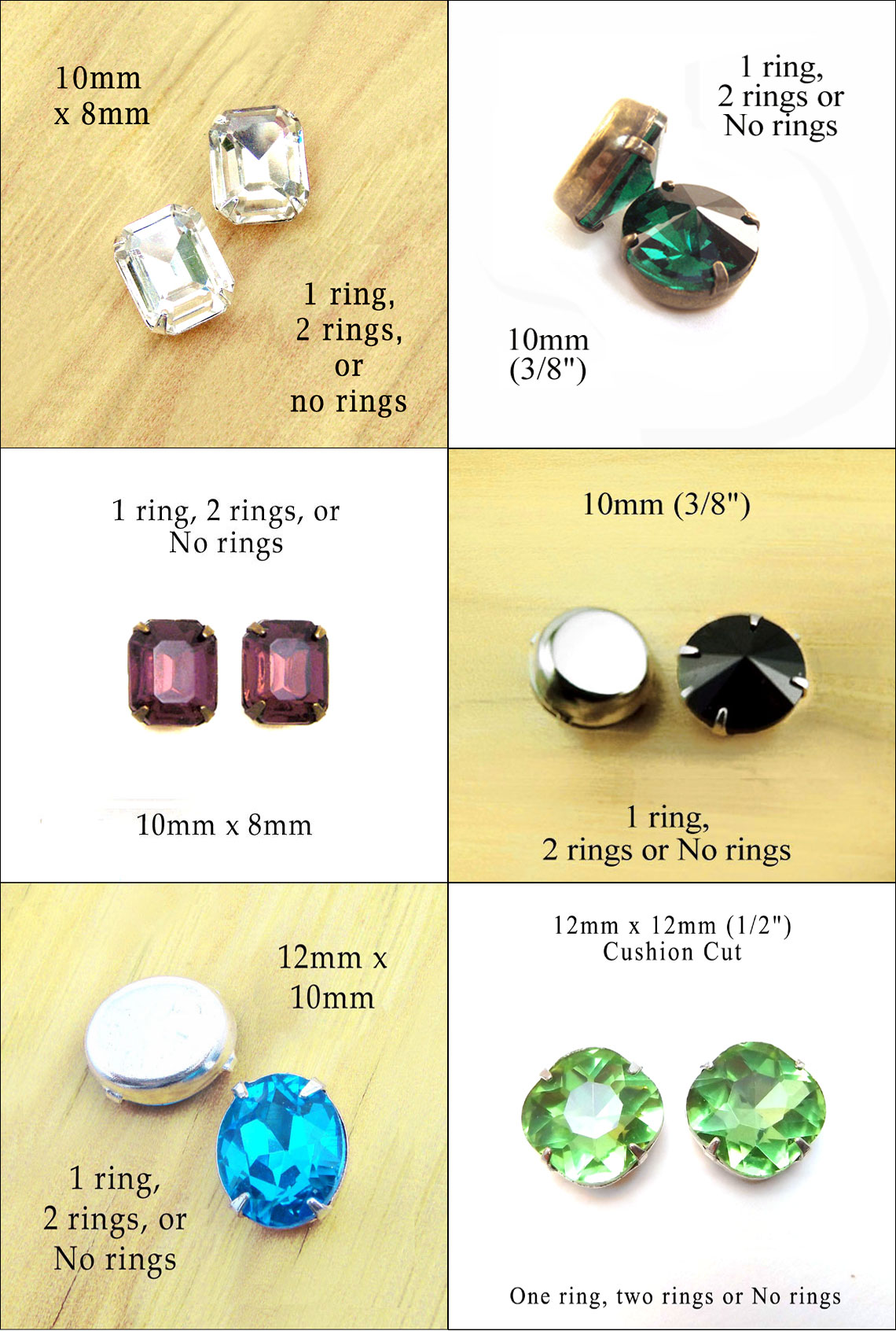 glass jewels in no ring settings...great for button and stud earrings