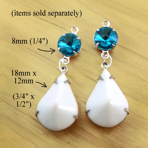DIY earring design idea using white vintage glass teardrops and aqua rivoli faceted glass connector jewels