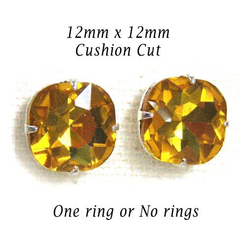 golden topaz cushion cut glass jewels at etsy.com/shop/weekendjewelry1