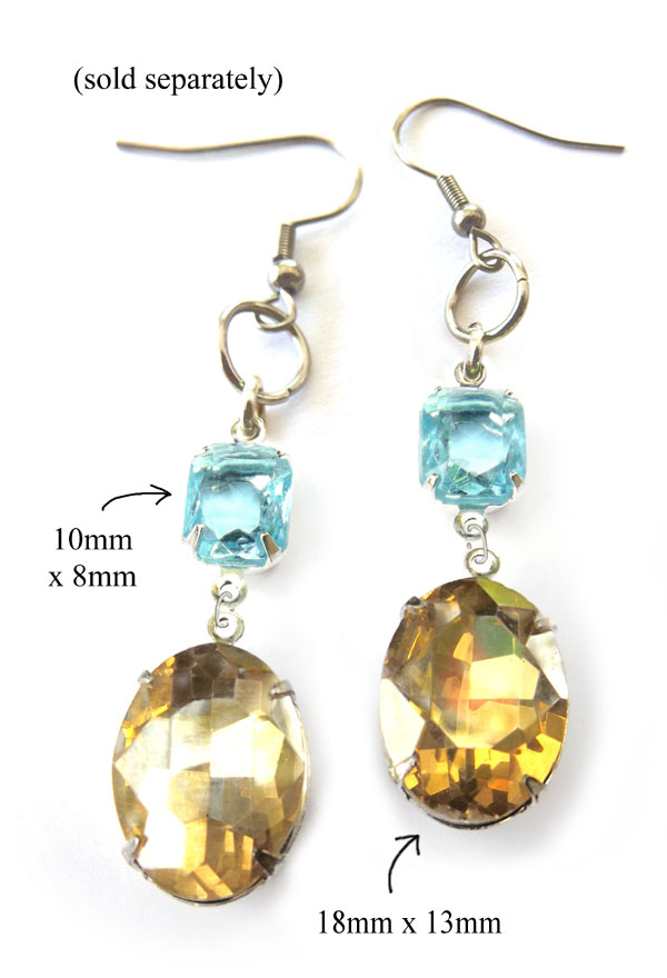 DIY earring design idea featuring aqua glass octagons and colorado topaz oval glass gems