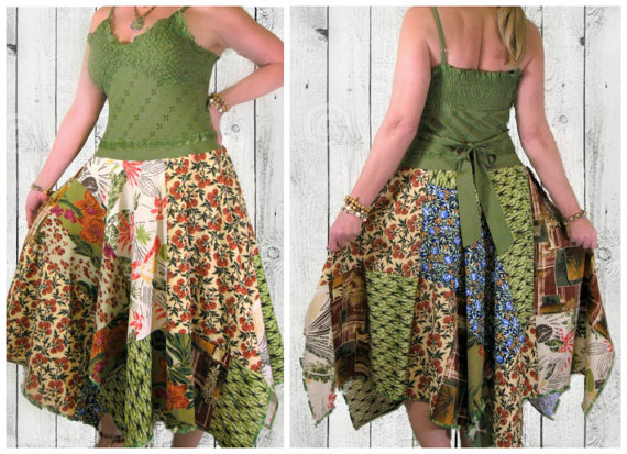 green upcycled boho sundress from Pandoras Passions