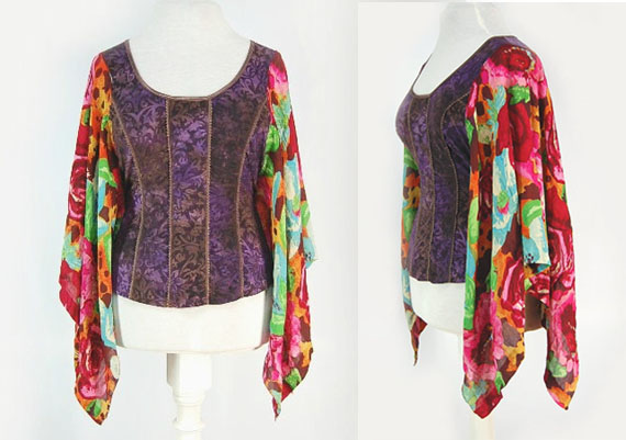 upcycled boho gypsy top available at Primitive Fringe boutique