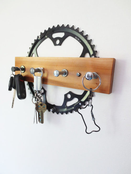 upcycled and recycled bicycle parts become a key rack