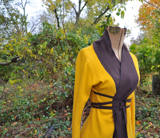 upcycled wrap cardigan from Rebirth Recycling shop at Etsy