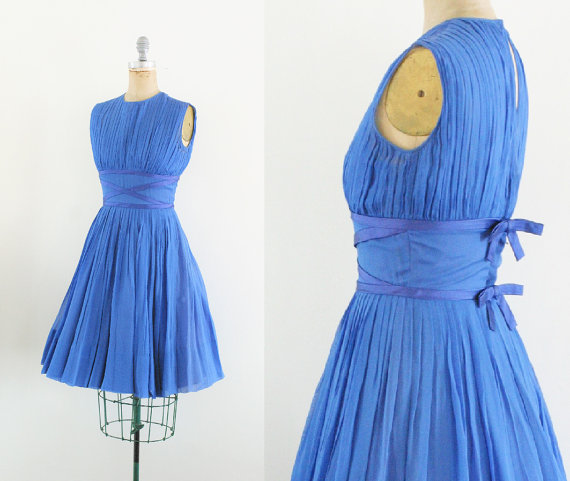 vintage blue bridesmaid dress...or party dress