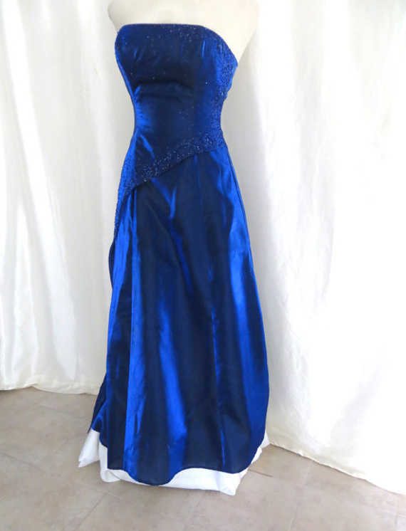 strapless vintage gown