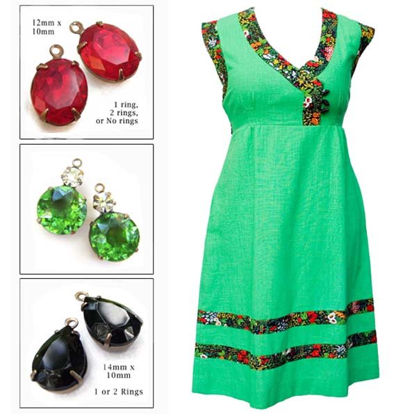 vintage green dress and coordinating glass earring jewels