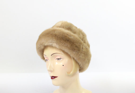 vintage faux fur winte rhat from Saint Vintage Clothing boutique on Etsy