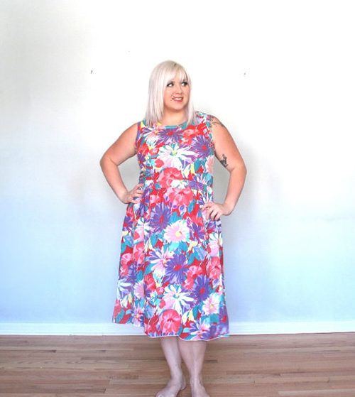 vintage floral plus size dress
