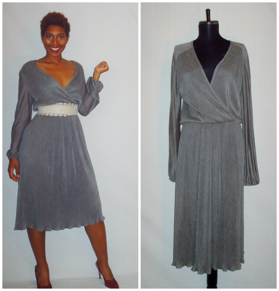 vintage gray dress - plus size, gorgeous, easy to wear