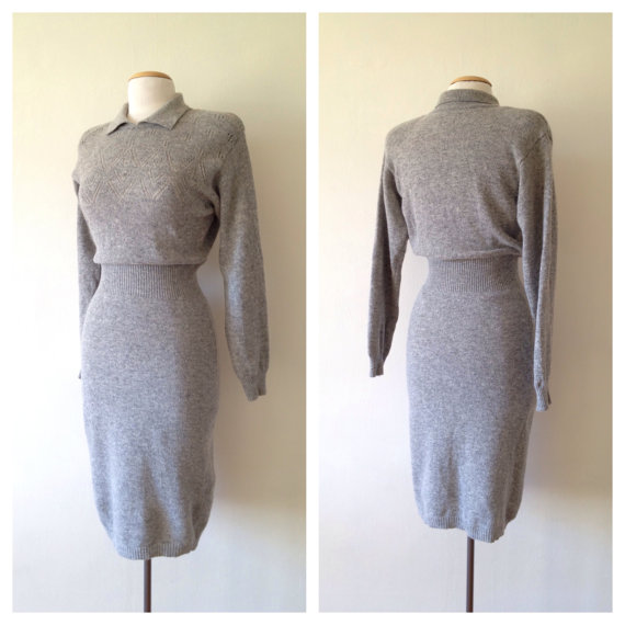 vintage gray sweater dress from DinaLouiseSF