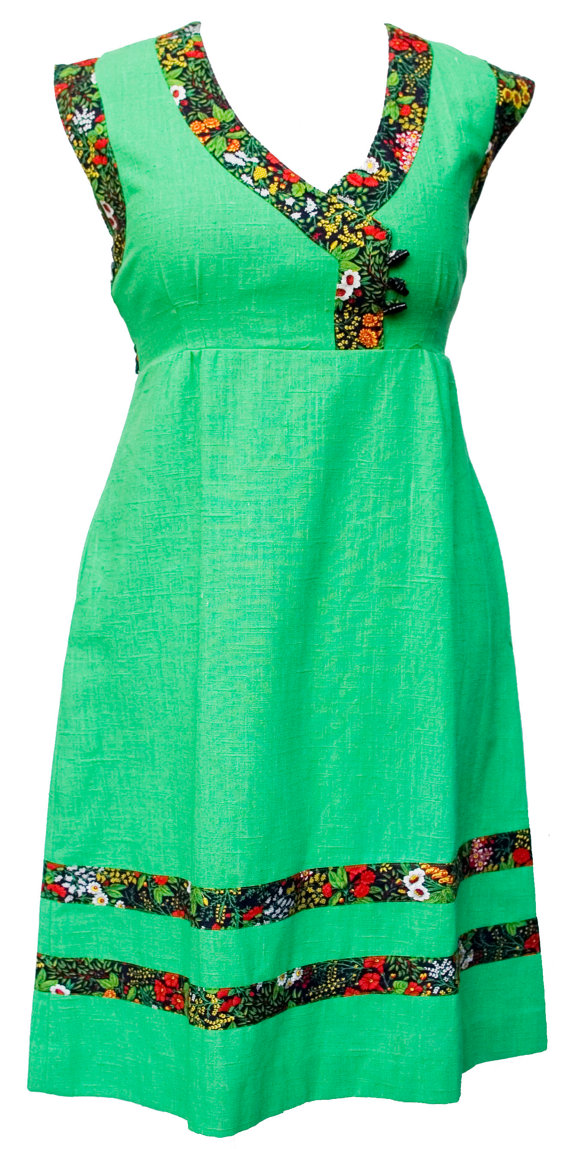 vintage green summer dress