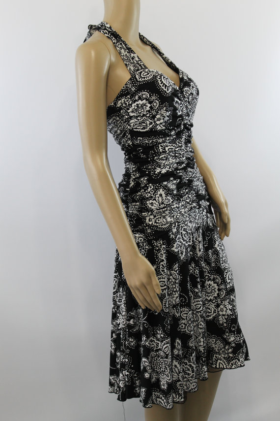 vintage black and white halter dress