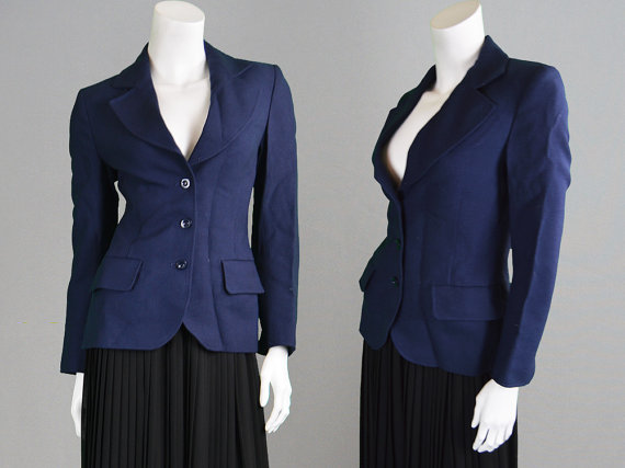 vintage Jaeger navy blue fitted jacket or blazer