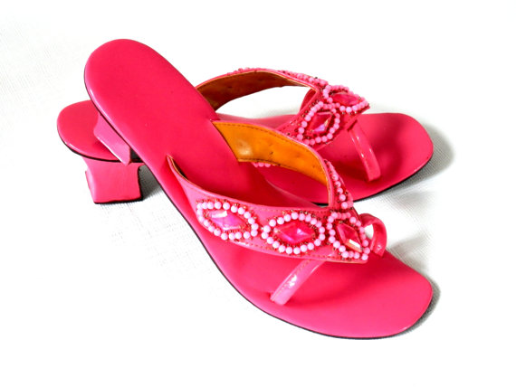 Vintage pink sandals from BigBangZero on Etsy