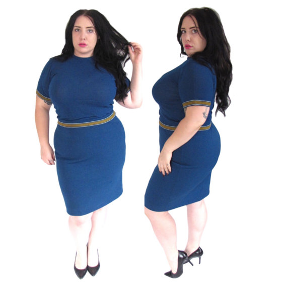 vintage blue plus size top and skirt set