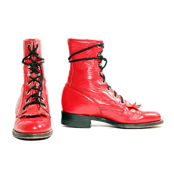 Red Lace Up Vintage Boots