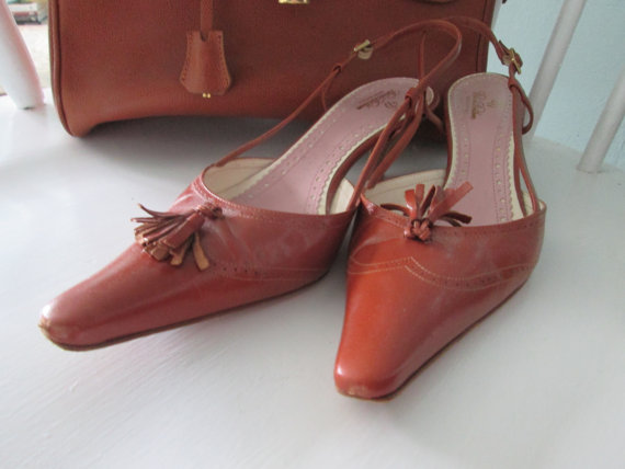vintage size 10 cognac leather pumps
