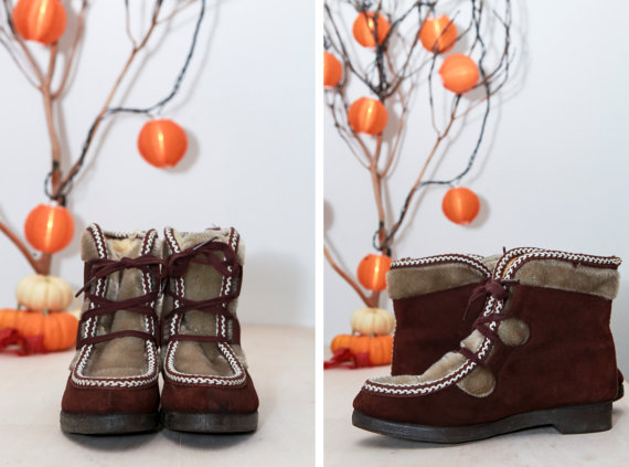 vintage suede and faux fur boots