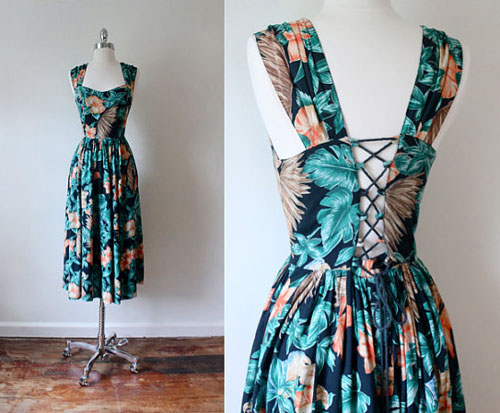 floral vintage summer dress at Folk and Fables on Etsy