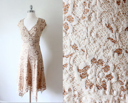 Lacy Summer Vintage Dress at Folk and Fables on Etsy
