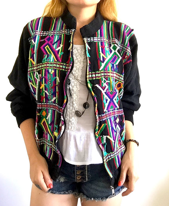 vintage technicolor bomber jacket