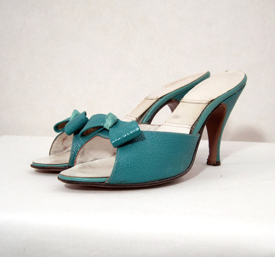 vintage turquoise sandals or mules