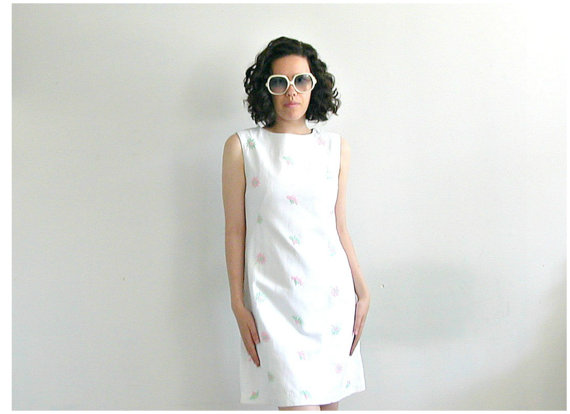 vintage white summer A-line dress