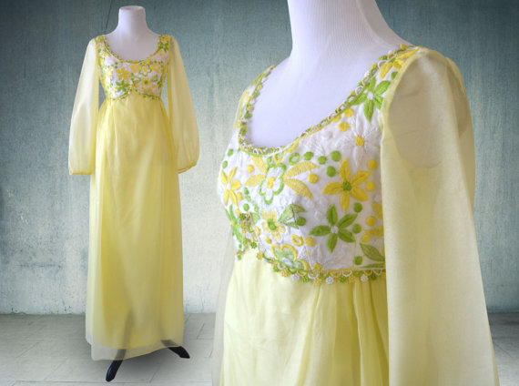 vintage yellow wedding dress ... festival dress ... party dress
