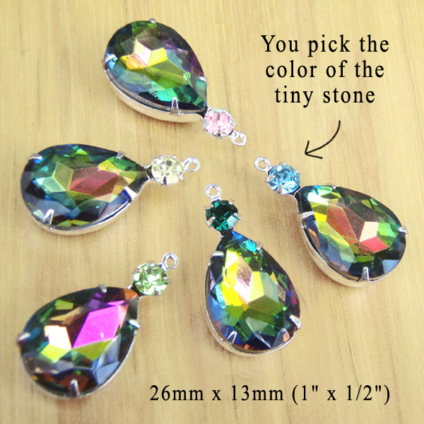 rainbow vitrail teardrop glass gems with customized tiny stone colors
