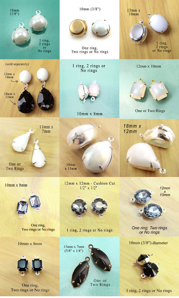 white and black glass jewels in my online shop