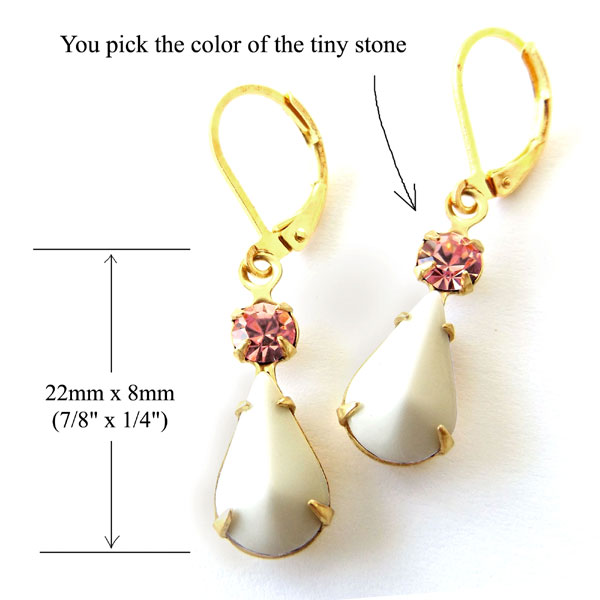 white vintage glass teardrops paired with pink rhinestones for DIY earrings
